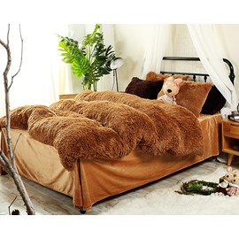 Full Size Solid Brown Super Soft Fluffy Plush 4-Piece Bedding Sets/Duvet Cover