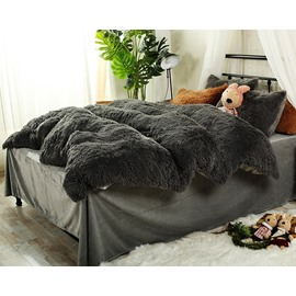 Full Size Solid Grey Super Soft Fluffy Plush 4-Piece Bedding Sets/Duvet Cover