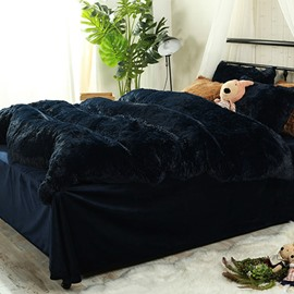 Full Size Navy Blue Super Soft Plush 4-Piece Fluffy Bedding Sets/Duvet Cover
