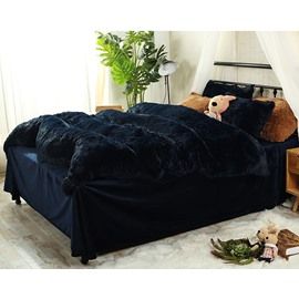 Full Size Navy Blue Super Soft Fluffy Plush 4-Piece Bedding Sets/Duvet Cover