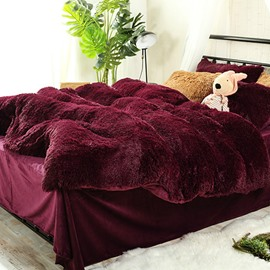 Antistatic Burgundy Red Super Soft Plush 4-Piece Fluffy Bedding Sets/Duvet Cover