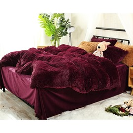 Full Size Burgundy Red Super Soft Plush 4-Piece Fluffy Bedding Sets/Duvet Cover