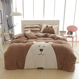 Full Size Cartoon Bear Pattern Coffee Soft 4-Piece Fluffy Bedding Sets/Duvet Cover