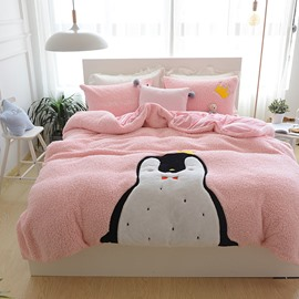 Full Size Cartoon Penguin Pattern Pink Soft 4-Piece Fluffy Bedding Sets/Duvet Cover