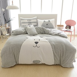 Full Size Cartoon Bear Pattern Grey Soft 4-Piece Fluffy Bedding Sets/Duvet Cover