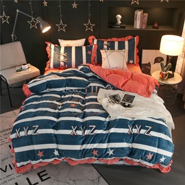 Blue Stripes and Letter Printing Velvet 4-Piece Bedding Sets/Duvet Cover