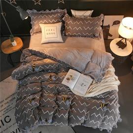 Bees and Wavy Shape Grey Velvet 4-Piece Bedding Sets/Duvet Cover