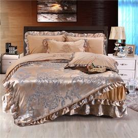 Flower Jacquard Camel Soft Crystal Velvet Bed Skirt 4-Piece Bedding Sets/Duvet Cover
