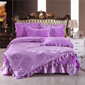 Flower Printing Light Purple Jacquard Crystal Velvet Bed Skirt 4-Piece Bedding Sets/Duvet Cover