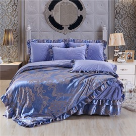 Exquisite Flower Printing Crystal Velvet Blue Bed Skirt 4-Piece Bedding Sets/Duvet Cover