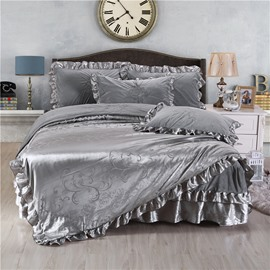 Silver Gray Flower Printing Crystal Velvet Bed Skirt 4-Piece Bedding Sets/Duvet Cover