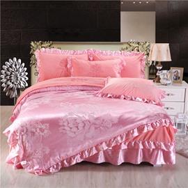 Flower Printing Pink Shiny Crystal Velvet Bed Skirt 4-Piece Bedding Sets/Duvet Cover