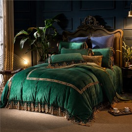 The Simple Square Pattern Dark Green 4-Piece Polyester Bedding Sets/Duvet Cover