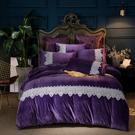 Elegant Lace Pattern Purple 4-Piece Polyester Bedding Sets/Duvet Cover
