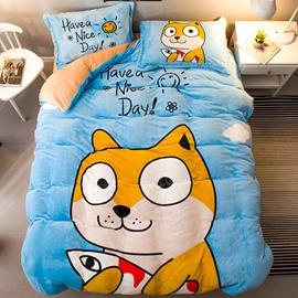 Cartoon Shiba Sky Blue Flannel 4-Piece Soft Bedding Sets/Duvet Cover