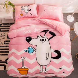 Cute Dog and Bone Sweet Pink Flannel 4-Piece Soft Bedding Sets/Duvet Cover