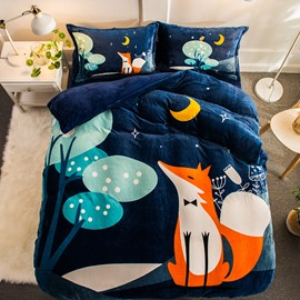 Cartoon Fox Night Printed Flannel 4-Piece Soft Bedding Sets/Duvet Cover