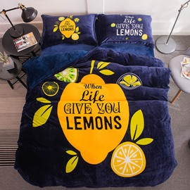 Yellow Lemon and Leaves Printed Flannel 4-Piece Bedding Sets/Duvet Cover