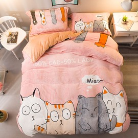 Friendly Kittens Sweet Pink Flannel 4-Piece Soft Bedding Sets/Duvet Cover