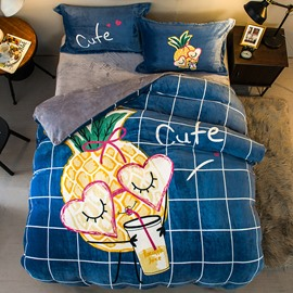 Pineapple Drinking Juice Blue Printed Flannel 4-Piece Bedding Sets/Duvet Cover