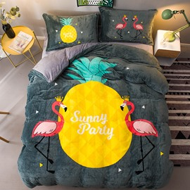 Yellow Pineapple and Flamingo Printing Flannel 4-Piece Soft Bedding Sets/Duvet Cover