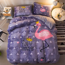 Pink Flamingo &Crown Purple Printed Flannel 4-Piece Bedding Sets/Duvet Cover