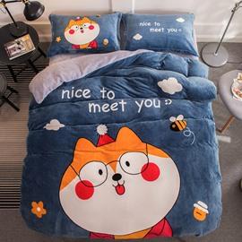 Cartoon Shiba Printed Flannel 4-Piece Soft Bedding Sets/Duvet Cover