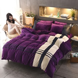 Stripes Pattern Elegant Purple Coral Fleece 4-Piece Fluffy Bedding Sets/Duvet Cover