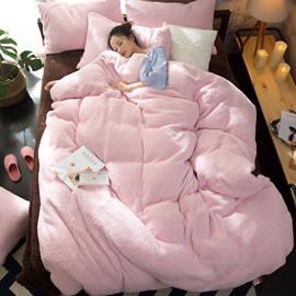 Sweet Solid Pink Coral Fleece 4-Piece Fluffy Bedding Sets/Duvet Cover