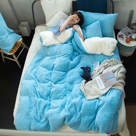 Solid Sky Blue White Reversible Coral Fleece 4-Piece Fluffy Bedding Sets/Duvet Cover