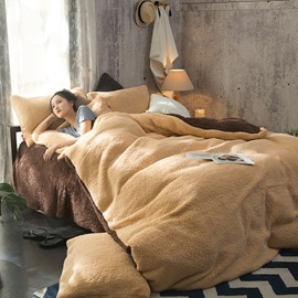Solid Camel and Coffee Reversible Coral Fleece 4-Piece Fluffy Bedding Sets/Duvet Cover