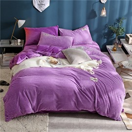 Wavy Shape Princess Style Elegant Purple 4-Piece Fluffy Bedding Sets/ Duvet Covers