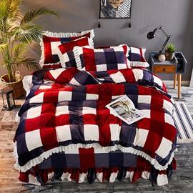 Navy Blue And Red Large Check Velvet 4-Piece Fluffy Bedding Sets/Duvet Cover