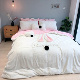 Rabbit Ears Flannel Duvet Cover Set Princess Style Pink and White 4-Piece Fleece Bedding Sets