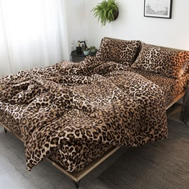 Leopard Pattern Thickened Suede Duvet Cover Sets 4-Piece Velvet Bedding Sets