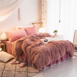 Fluffy Solid Dusty Rose Quilting Bed Skirt 4-Piece Bedding Sets/Duvet Cover
