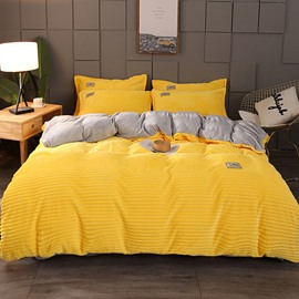 Yellow and Grey Thick Warm Duvet Cover Sets 4-Piece Flannel Bedding Sets