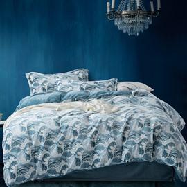 Reactive Printing Machine Wash Three-Piece Set Duvet Cover Set Polyester Bedding Sets Art Waves
