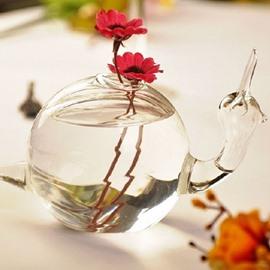 Glamorous Creative Delicate Snail Design Glass Flower Vase