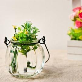 Wonderful Pumpkin Glass Iron Rope Bottle Vase