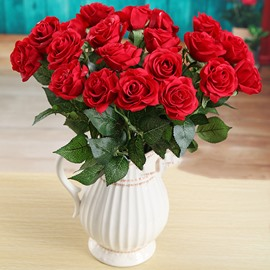 Gorgeous Red Rose Artificial Flower 10-Piece