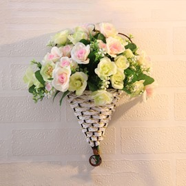 Romantic Artificial Flowers Roses in Basket Wall Flower Sets