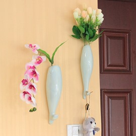 Creative Fish Design Ceramic Wall Vase with Hooks