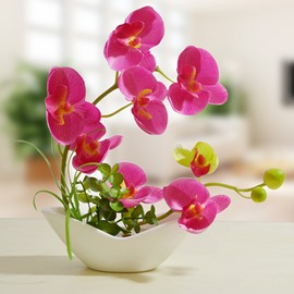 Stunning Orchid Silk Artificial Flower Set Desktop Decoration
