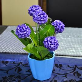 Beautiful Hydrangea in Flower Design Pot Artificial Flower Set