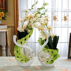 Artificial flowers potted plants silk wedding bouquets 67 gorgeous swan couple design ceramic flower vase and artificial flower mightylinksfo