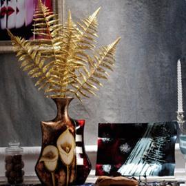 High-Grade Ceramic Calla Lily Pattern with Golden Plant Desktop Flower Vase