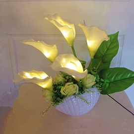 White Calla Lilies and Roses with Leaves LED Light Artificial Flower Sets
