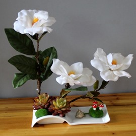 Gorgeous Artificial Mangnolia Design Home Decorative Flower Sets