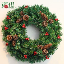 Green Wreath with Brown Pines Christmas Door and Trees Decorations Festival Home Decor